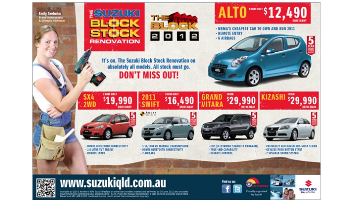 SUZUKI 'THE BLOCK STOCK RENOVATION' PRESS AD